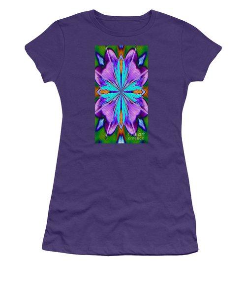Abstract Purple Aqua And Green Women's T-Shirt (Junior Cut) by Smilin Eyes  Treasures