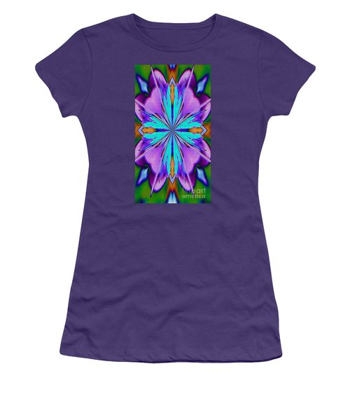 Abstract Purple Aqua And Green Women's T-Shirt (Athletic Fit)