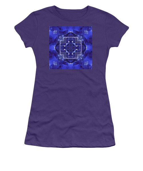 Women's T-Shirt (Junior Cut) featuring the digital art Blue Cross Radiance by David Mckinney