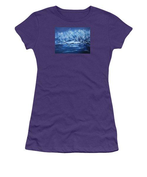 Women's T-Shirt (Junior Cut) featuring the painting Blue Silence by Vesna Martinjak