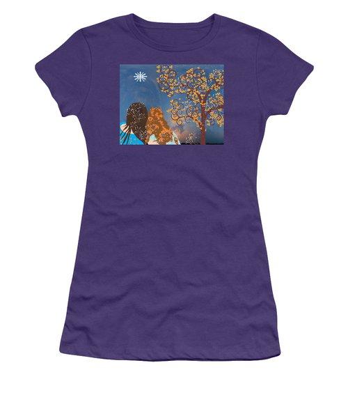 Women's T-Shirt (Junior Cut) featuring the digital art Blue Swirl Girls 2 by Kim Prowse