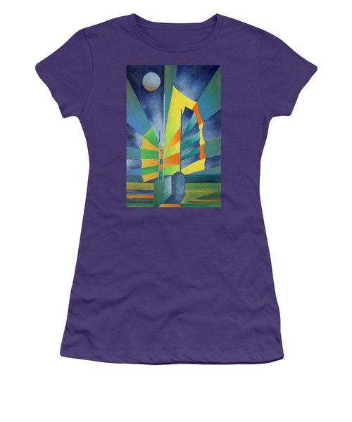 Women's T-Shirt (Junior Cut) featuring the painting By The Light Of The Silvery Moon by Tracey Harrington-Simpson
