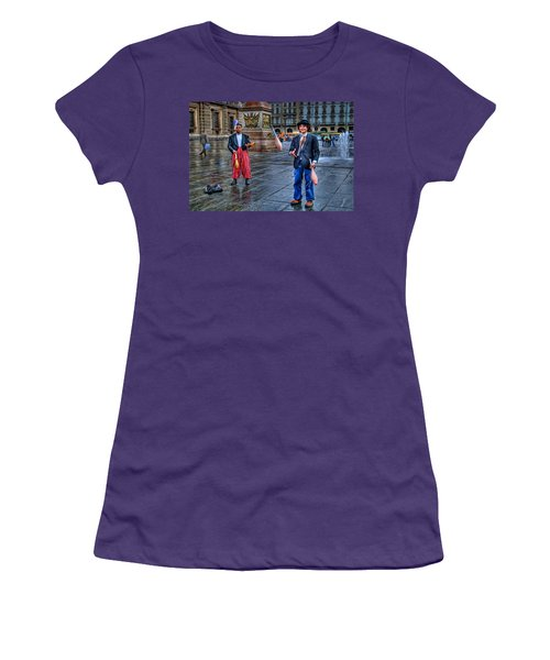 Women's T-Shirt (Junior Cut) featuring the photograph City Jugglers by Ron Shoshani