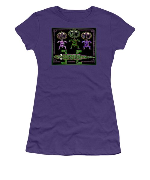 Women's T-Shirt (Junior Cut) featuring the drawing Crocodile  Worshippers by Hartmut Jager