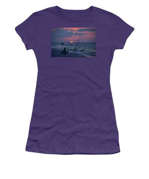 Women's T-Shirt (Junior Cut) featuring the photograph Daybreak On Navarre Beach With Deng The Fisherman by Jeff at JSJ Photography