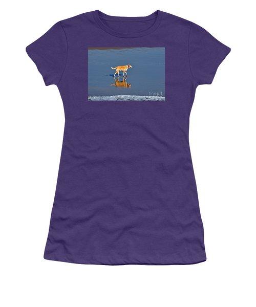 Dog On Water Mirror Women's T-Shirt (Junior Cut) by Susan Wiedmann