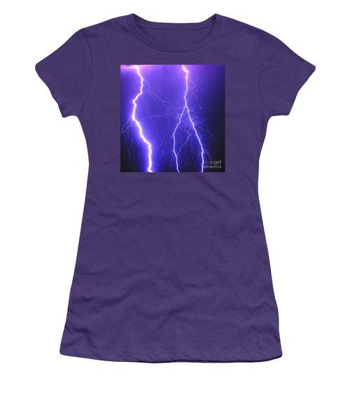 Double Triple Blue Lightning Women's T-Shirt (Athletic Fit)