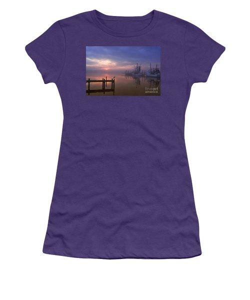 Foggy Sunset Over Swansboro Women's T-Shirt (Junior Cut) by Benanne Stiens
