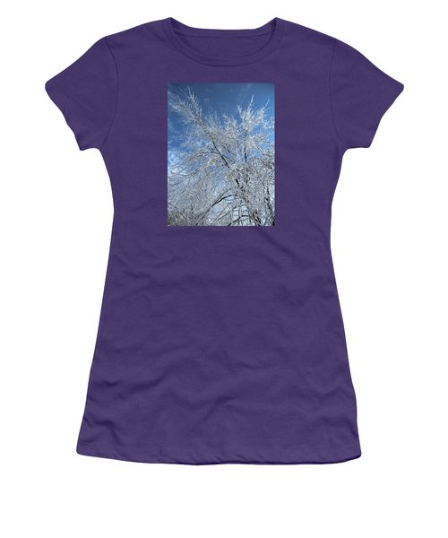 Women's T-Shirt (Junior Cut) featuring the photograph Freezing Rain ... by Juergen Weiss