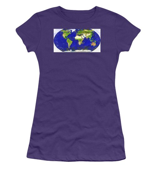 Women's T-Shirt (Junior Cut) featuring the painting Global Map Painting by Georgi Dimitrov