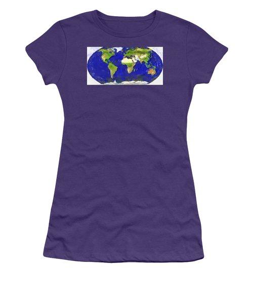 Global Map Painting Women's T-Shirt (Junior Cut) by Georgi Dimitrov
