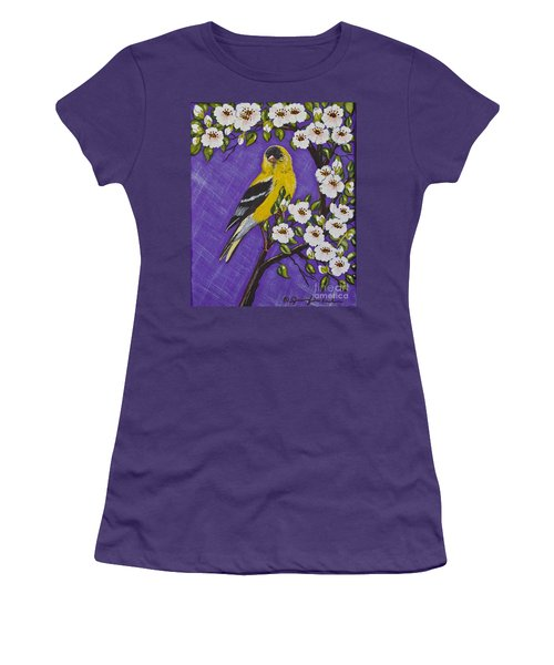 Women's T-Shirt (Junior Cut) featuring the painting Goldfinch In Pear Blossoms by Jennifer Lake