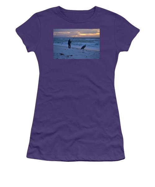 Women's T-Shirt (Junior Cut) featuring the photograph Harry The Heron Fishing With Fisherman On Navarre Beach At Sunrise by Jeff at JSJ Photography