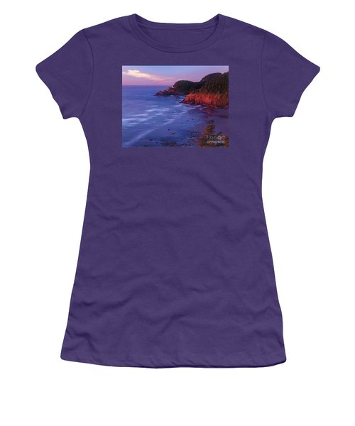 Women's T-Shirt (Junior Cut) featuring the photograph Heceta Head Lighthouse At Sunset Oregon Coast by Dave Welling