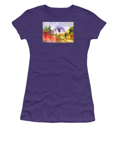 Women's T-Shirt (Junior Cut) featuring the painting House In The Country by Yolanda Koh