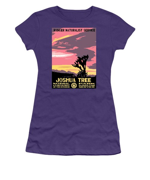 Joshua Tree National Park Vintage Poster Women's T-Shirt (Junior Cut) by Eric Glaser