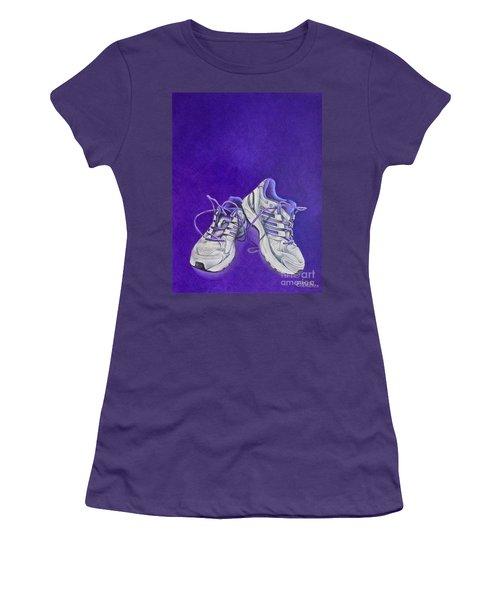 Women's T-Shirt (Junior Cut) featuring the painting Karen's Shoes by Pamela Clements