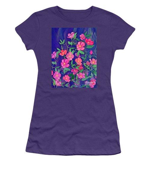 Women's T-Shirt (Junior Cut) featuring the mixed media La Vie En Rose by Teresa Ascone