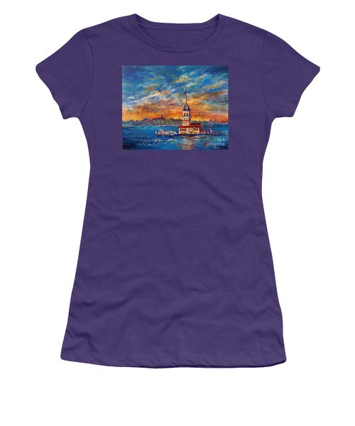 Women's T-Shirt (Junior Cut) featuring the painting Leanders Tower  Istanbul by Lou Ann Bagnall