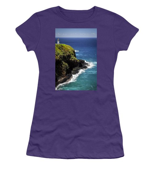 Women's T-Shirt (Junior Cut) featuring the photograph Lighthouse By The Pacific by Debbie Karnes