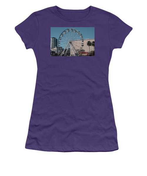 Women's T-Shirt (Athletic Fit) featuring the photograph Long Beach In Technicolor by Clayton Bruster