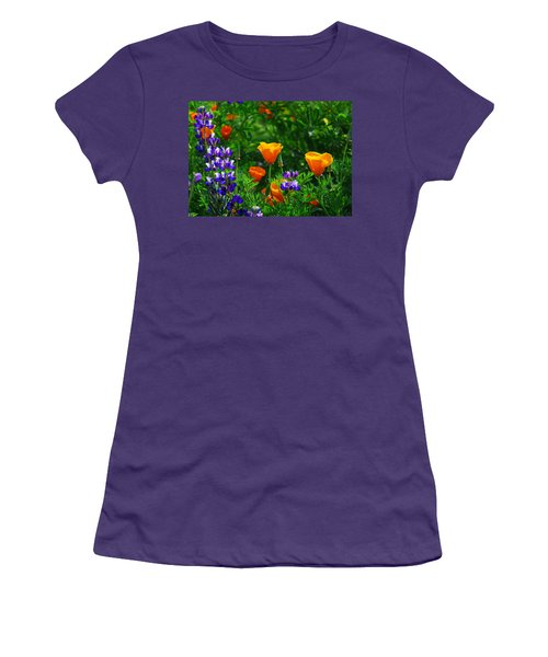 Lupines And Poppies Women's T-Shirt (Junior Cut) by Lynn Bauer
