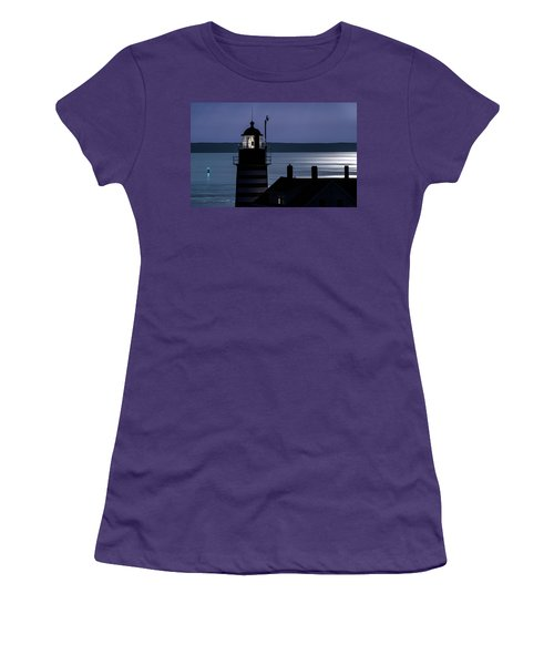 Women's T-Shirt (Junior Cut) featuring the photograph Midnight Moonlight On West Quoddy Head Lighthouse by Marty Saccone