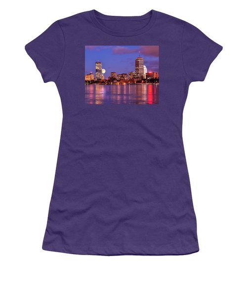 Women's T-Shirt (Junior Cut) featuring the photograph Moonlit Boston On The Charles by Mitchell R Grosky