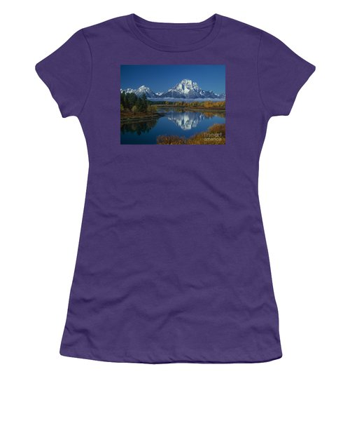 Morning Cloud Layer Oxbow Bend In Fall Grand Tetons National Park Wyoming Women's T-Shirt (Athletic Fit)