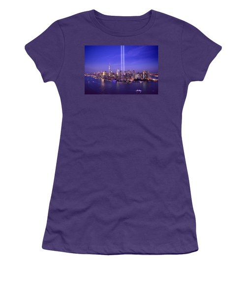 Women's T-Shirt (Junior Cut) featuring the photograph New York City Tribute In Lights World Trade Center Wtc Manhattan Nyc by Jon Holiday