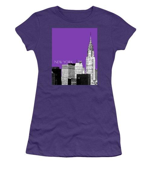 New York Skyline Chrysler Building - Purple Women's T-Shirt (Athletic Fit)