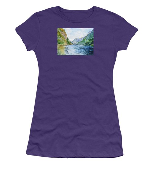 Women's T-Shirt (Athletic Fit) featuring the painting Norway Fjord by Irina Sztukowski