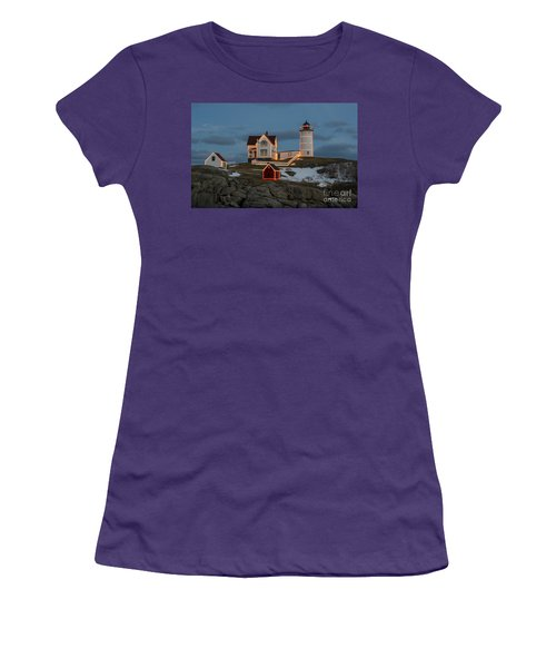 Nubble Lighthouse At Christmas Women's T-Shirt (Athletic Fit)
