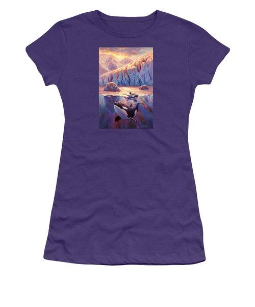 Orca Sunrise At The Glacier Women's T-Shirt (Athletic Fit)