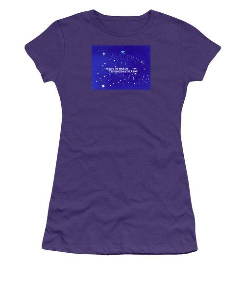 Peace On Earth Card Women's T-Shirt (Junior Cut) by Kathy Barney