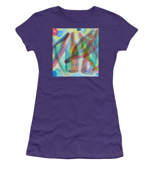 Women's T-Shirt (Junior Cut) featuring the painting Plaid Wine by Diane Pape