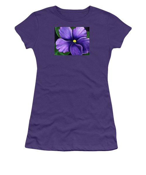 Women's T-Shirt (Junior Cut) featuring the painting Purple African Violet by Barbara Griffin