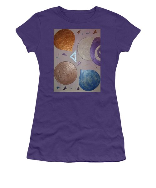 Purple And Metallic Shapes Women's T-Shirt (Junior Cut) by Barbara Yearty