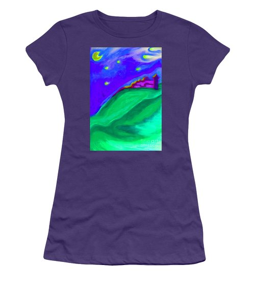 Women's T-Shirt (Junior Cut) featuring the painting Purple Castle By Jrr by First Star Art
