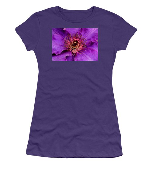 Women's T-Shirt (Junior Cut) featuring the photograph Purple Clematis by Suzanne Stout