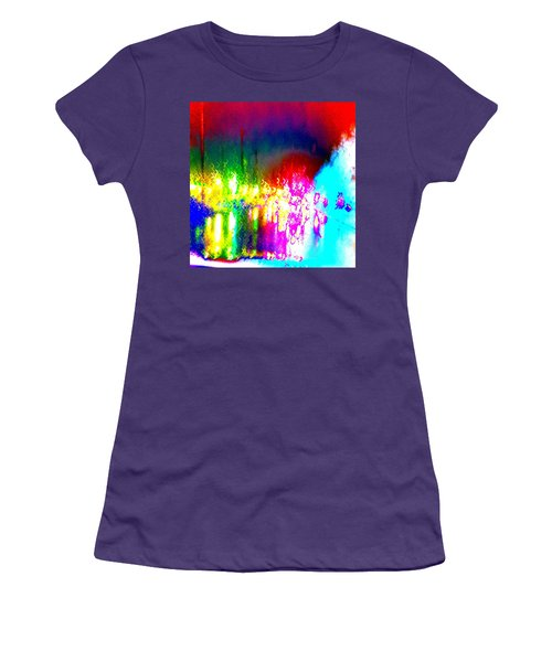 Rainbow Splash Abstract Women's T-Shirt (Athletic Fit)