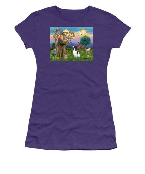 Saint Francis Blesses An English Springer Spaniel Women's T-Shirt (Athletic Fit)
