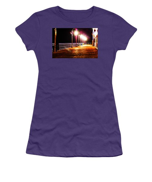 Santa Monica Pier At Night Women's T-Shirt (Athletic Fit)