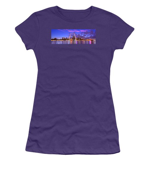 St. Louis Skyline At Dusk Gateway Arch Color Panorama Missouri Women's T-Shirt (Athletic Fit)