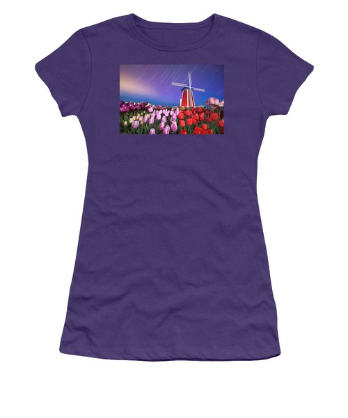Women's T-Shirt (Junior Cut) featuring the photograph Star Trails Windmill And Tulips by William Lee