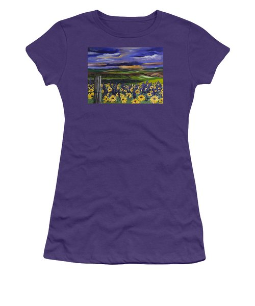 Women's T-Shirt (Junior Cut) featuring the painting The Colors Of The Plateau by Jennifer Lake