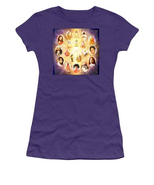 Women's T-Shirt (Junior Cut) featuring the mixed media The Guru Tattva by Ananda Vdovic