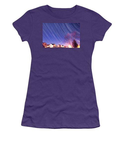 The Star Trails Women's T-Shirt (Junior Cut) by Paul Ge