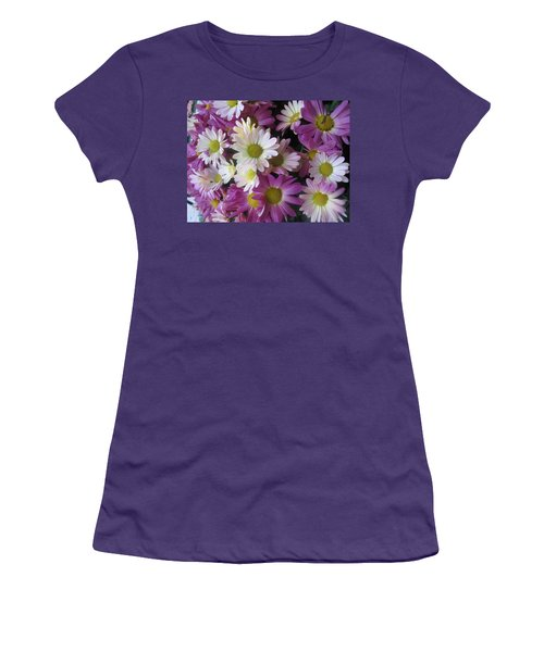 Women's T-Shirt (Junior Cut) featuring the photograph Vegas Butterfly Garden Flowers Colorful Romantic Interior Decorations by Navin Joshi