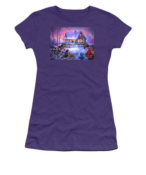 Women's T-Shirt (Junior Cut) featuring the digital art Welcome Santa - Retro Vintage Inspired Christmas Scene by Lianne Schneider